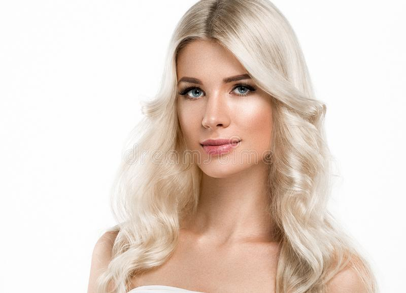 Blonde Woman Beautiful Portrait. Cosmetic concept, platinum Blond Hair Model Girl. Studio shot. Isolated on white royalty free stock photos