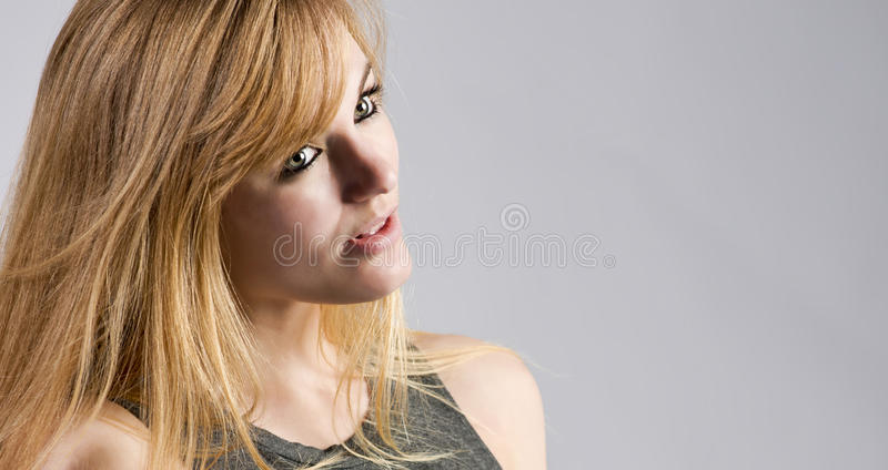 Blonde woman in a conversation