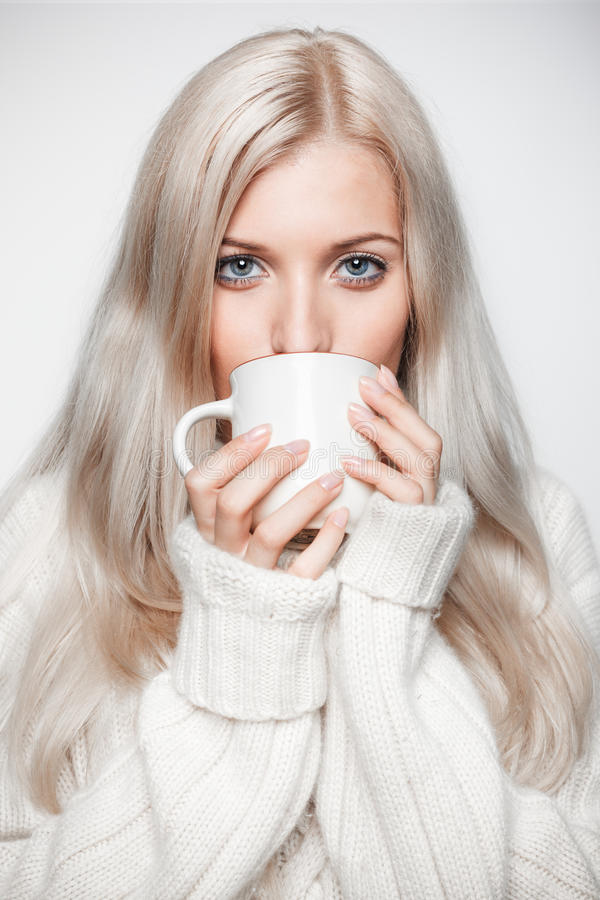 Free Blonde Woman Drinking A Cap Of Tea Stock Photo - 44449090