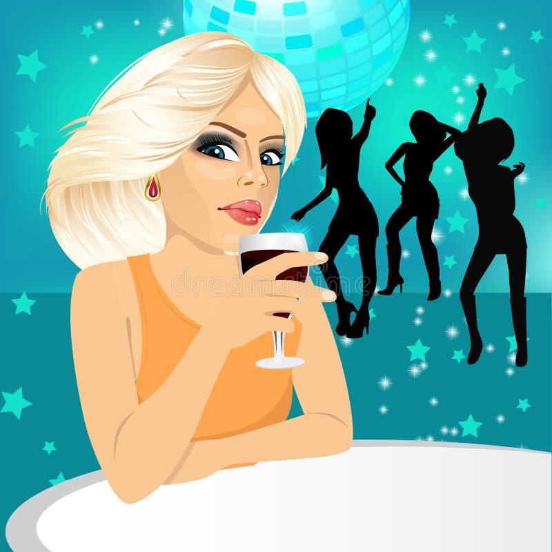 Blonde woman drinking wine royalty free illustration