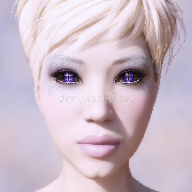 Blonde woman with fantasy eyes stock image