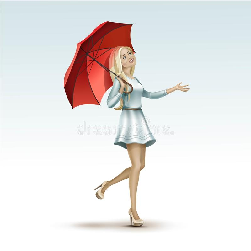 Blonde Woman Girl Under the Red Umbrella in Dress stock illustration