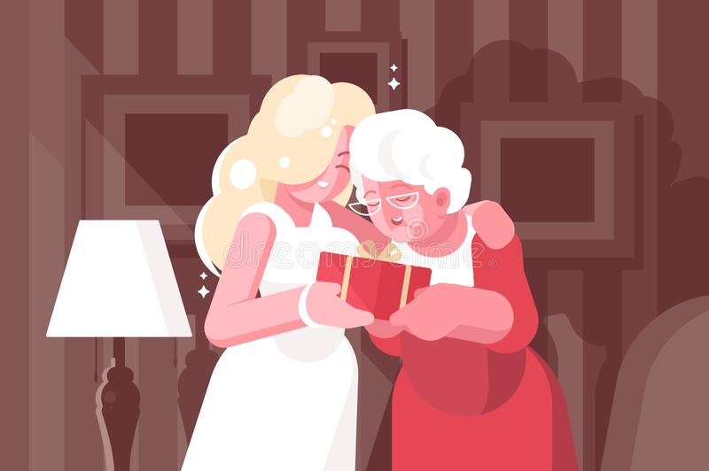 Blonde woman giving present to her mother vector illustration