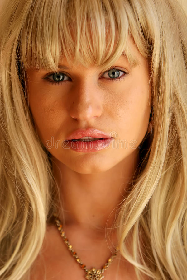 Blonde woman headshot stock photo