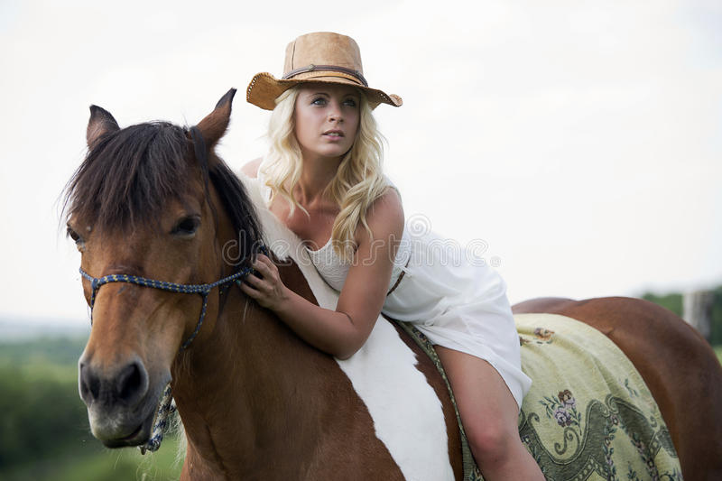Blonde woman on horse royalty free stock image