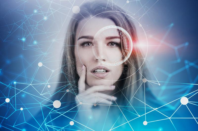 Blonde woman HUD interface, deep learning concept. Portrait of beautiful thinking blonde woman with HUD interface and network hologram. Concept of artificial royalty free stock photos