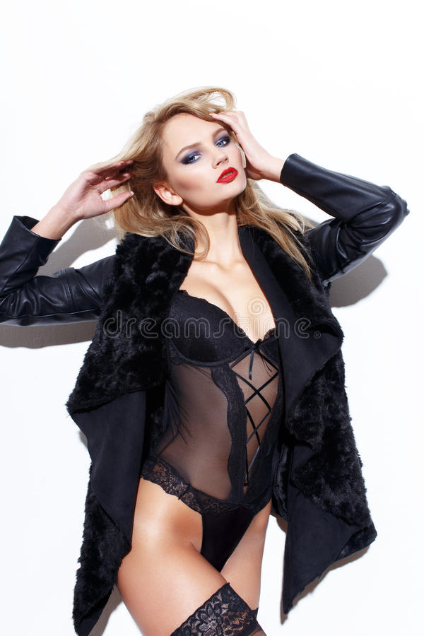 Free Blonde Woman In Underwear And Jacket Stock Image - 47614781