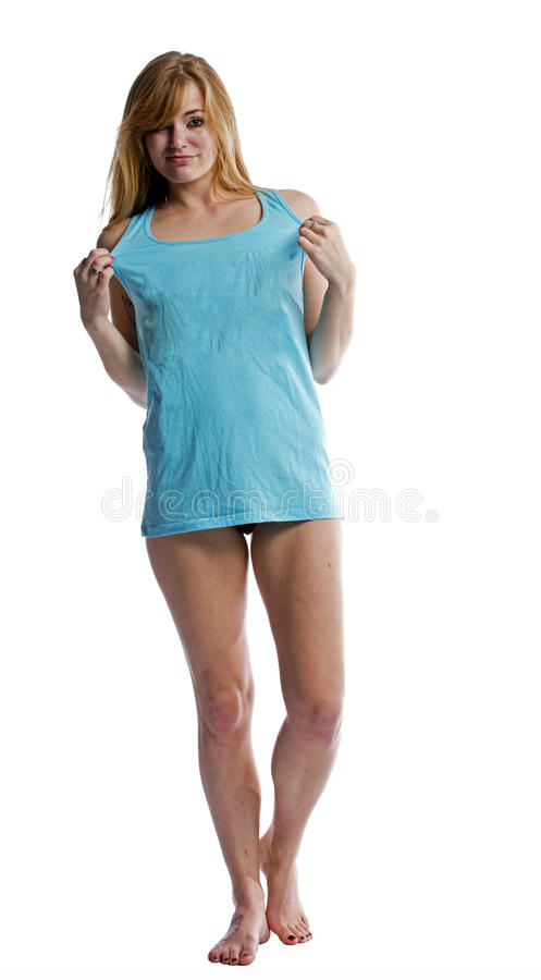 Download Blonde Woman Isolated On White In A T Shirt Stock Photo - Image: 30644224