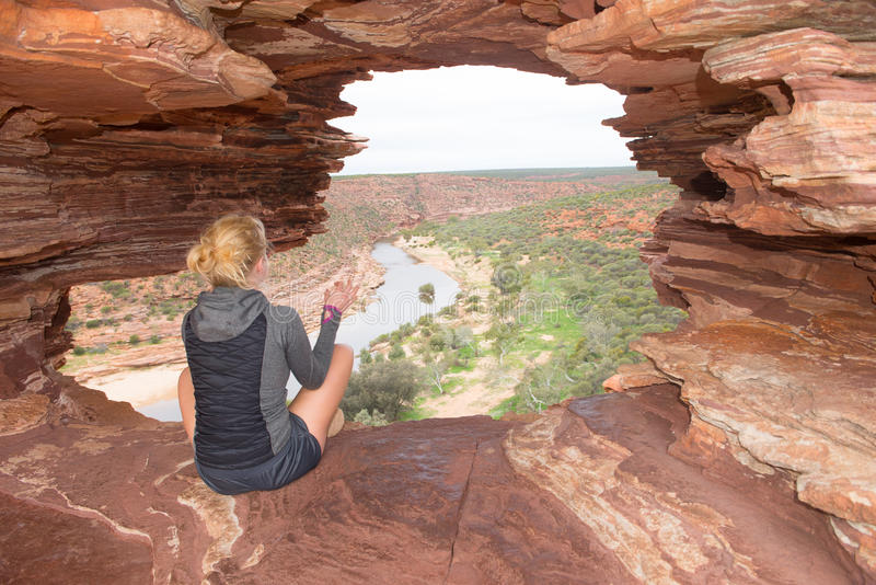 Blonde woman Kalbarri outback Australia stock image