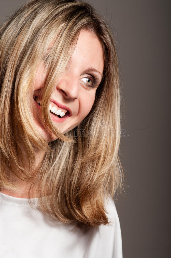 Blonde woman laugh royalty free stock photos