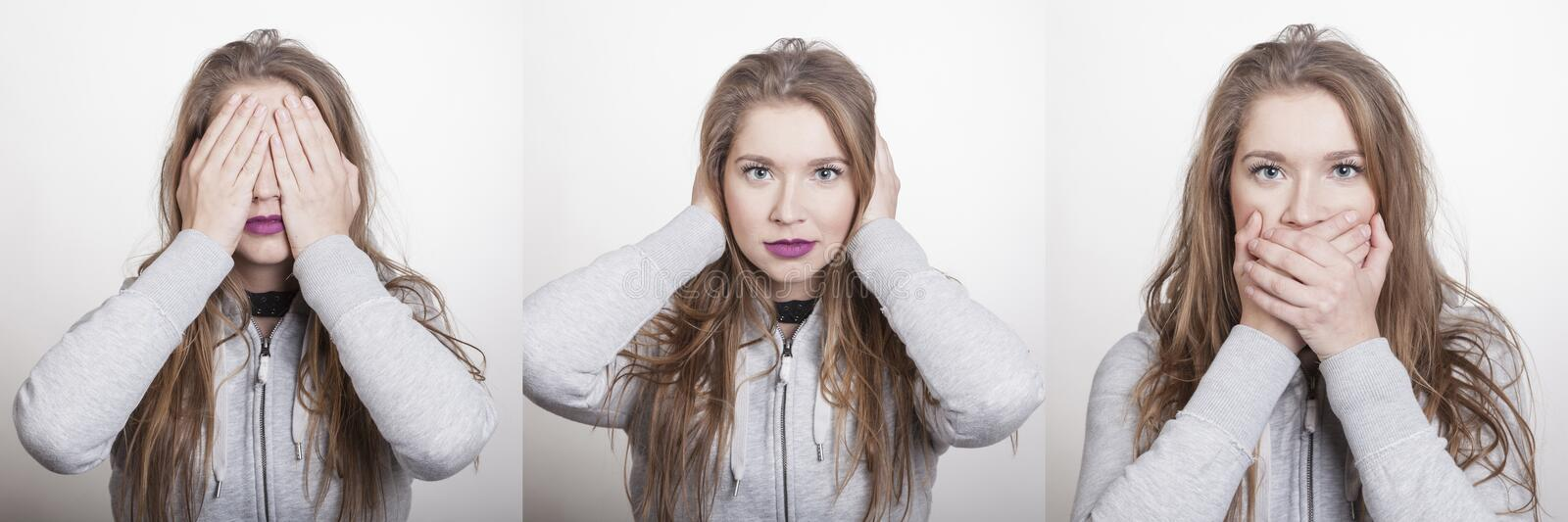 Blonde woman shows paraphrases of the three chimps of confucius showing no see hear speak royalty free stock images