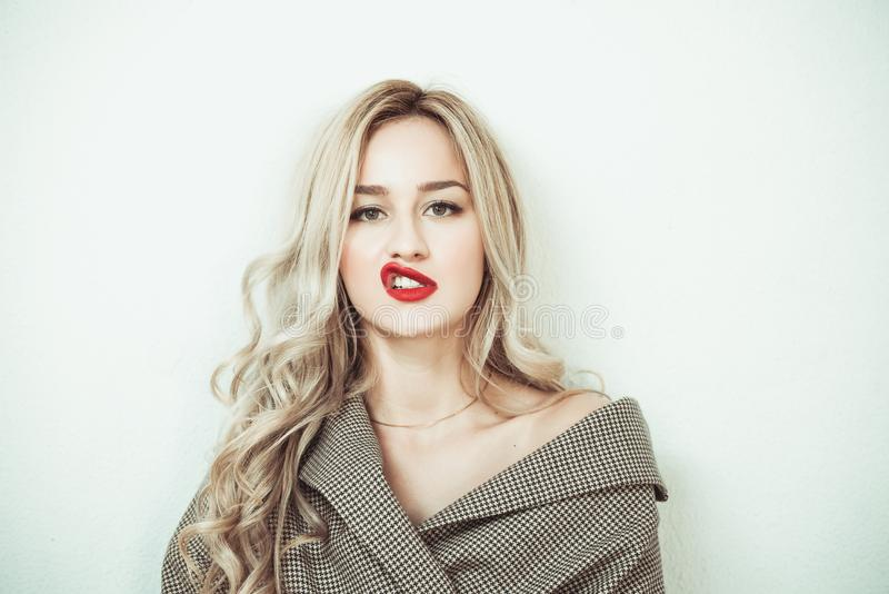 Blonde woman making face expressions royalty free stock photos
