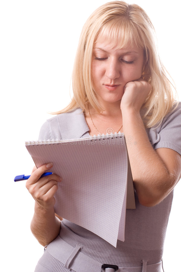 Blonde woman with note pad. Isolated. #10 stock photography
