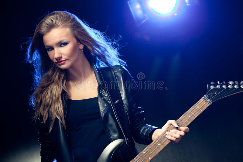 Download Blonde Woman Portrait With Guitar Stock Image - Image: 18451355