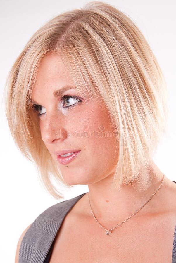 Blonde woman profile stock photos