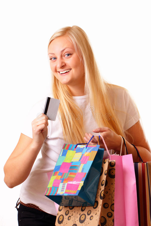 Blonde woman with purchases and discount card
