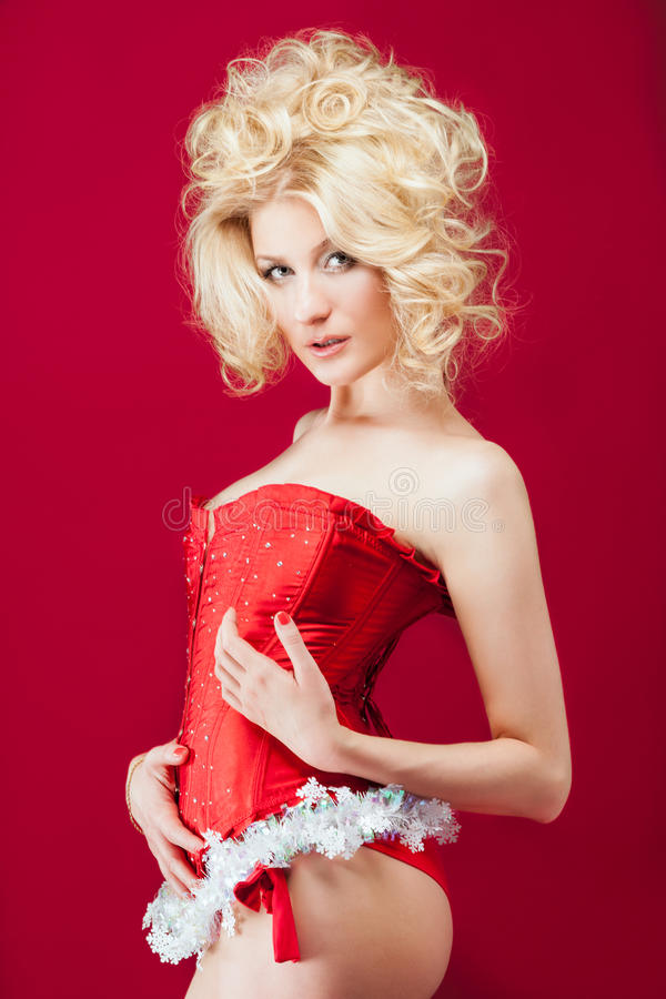 Download Blonde woman in red dress stock photo. Image of pretty - 32922928