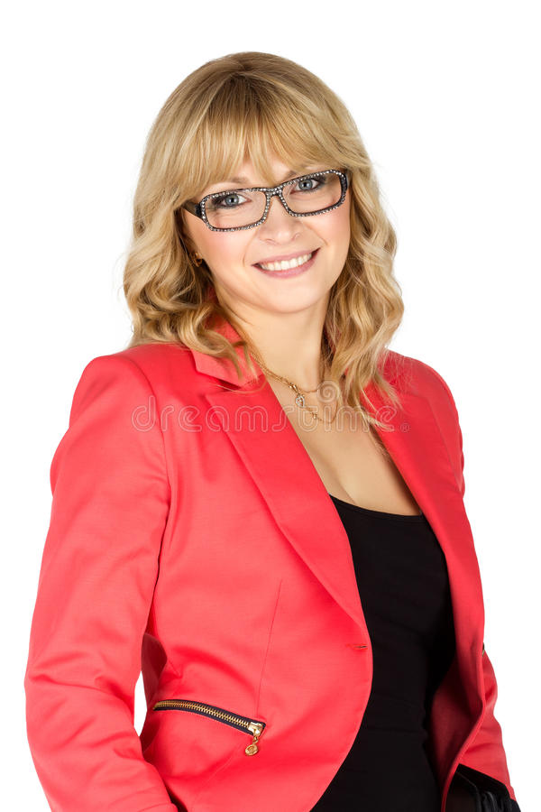Blonde woman in red jacket looking on camera (isolated on white). Blonde business woman in glasses and red jacket looking on camera (isolated on white royalty free stock image