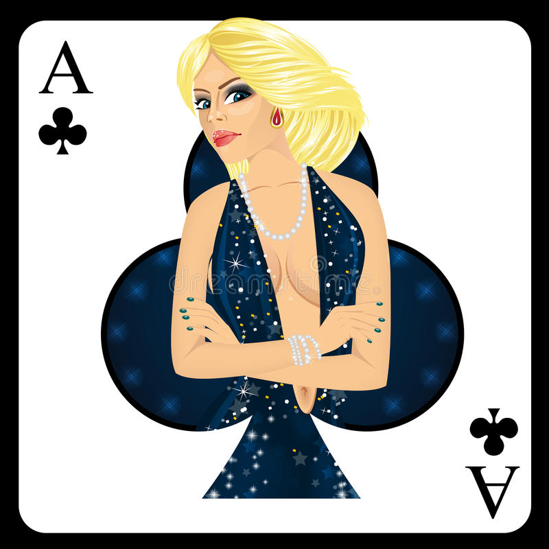 Blonde woman representing ace of clubs card from poker game. Attractive blonde woman representing ace of clubs card from poker game vector illustration