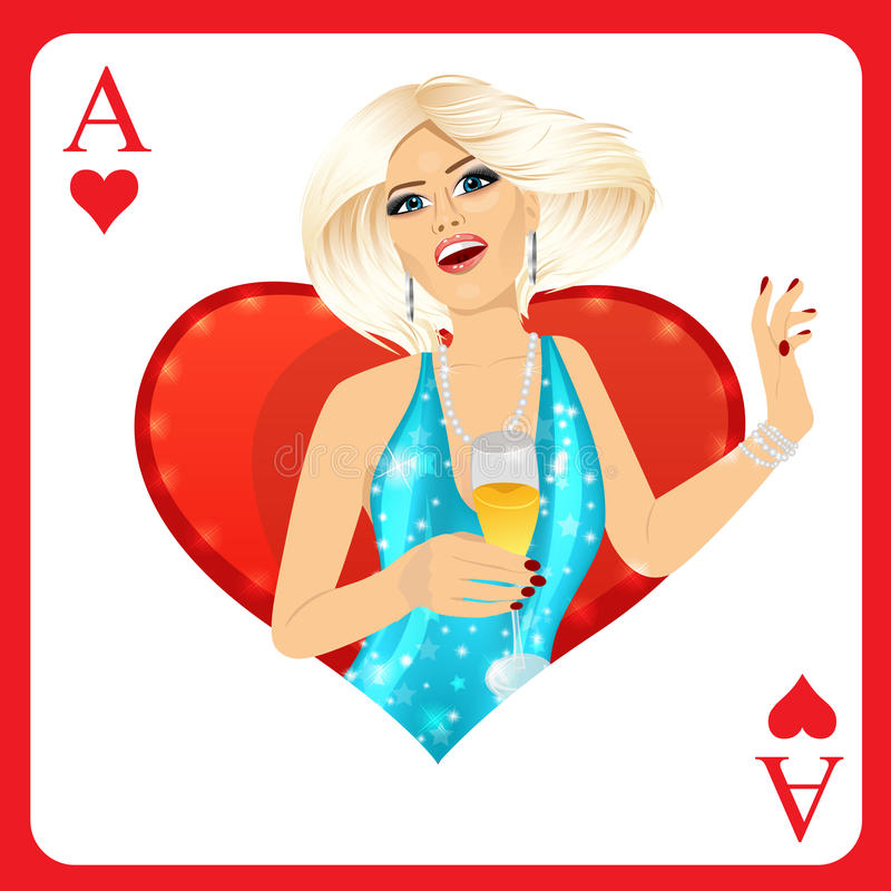 Blonde woman representing ace of hearts card from poker game vector illustration