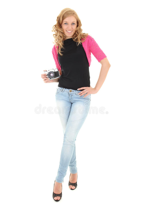 Blonde woman with retro camera stock images
