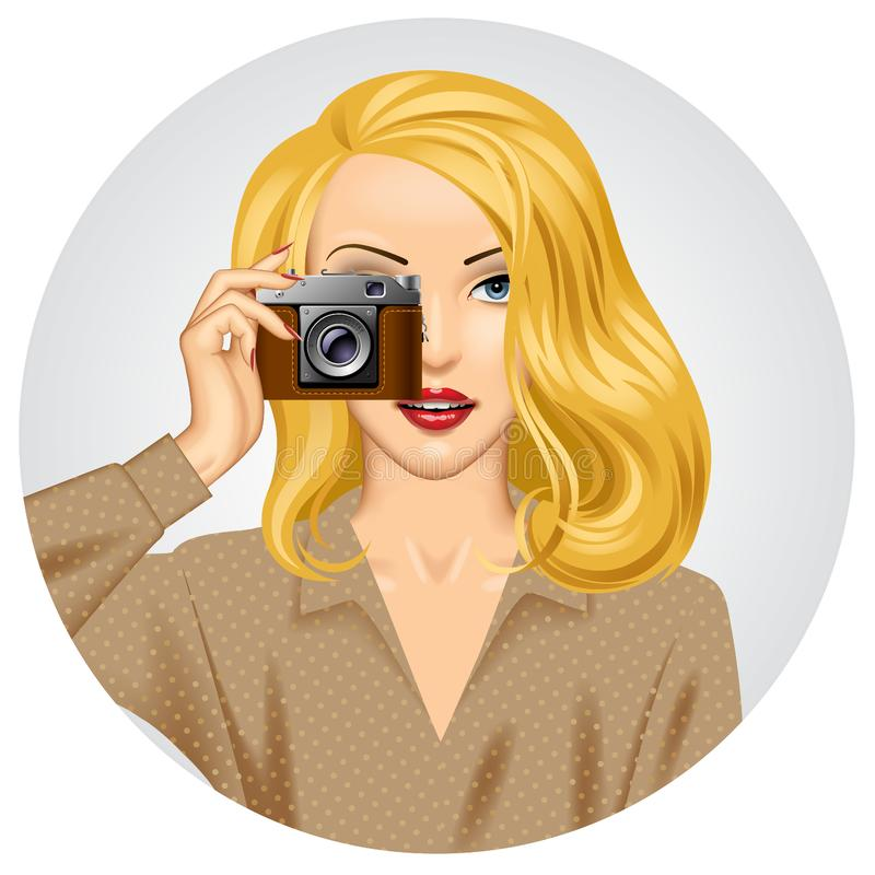 Blonde woman with retro photo camera in her hand stock illustration