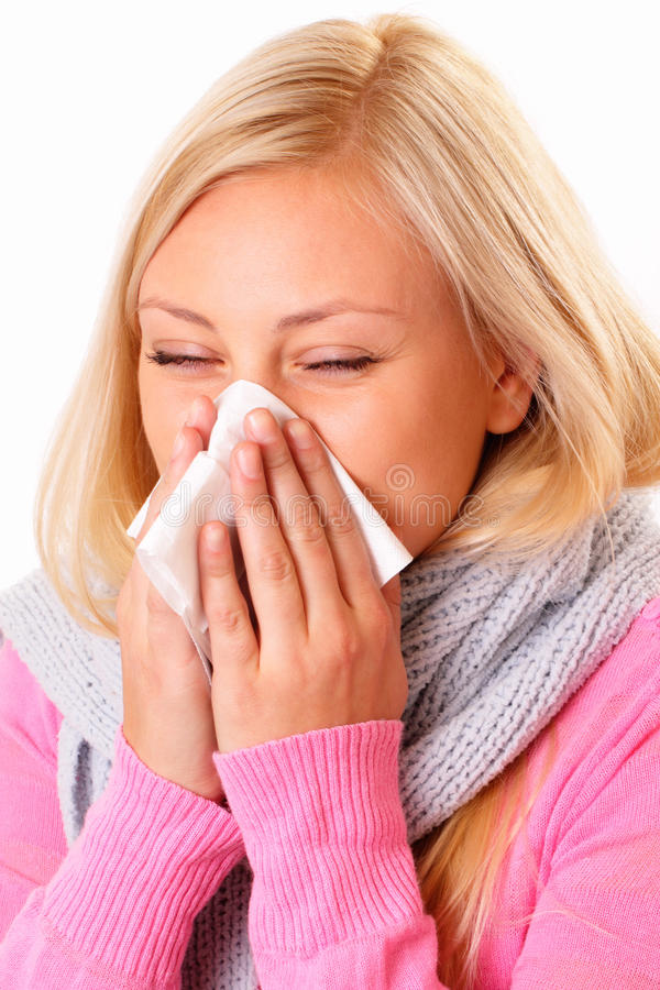 Download Blonde woman with rhinitis stock photo. Image of patient - 27317088