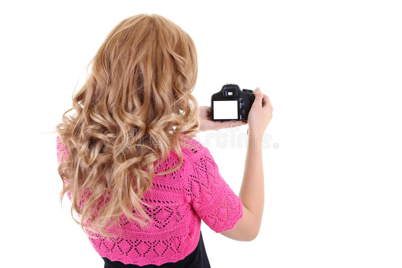 Blonde woman shooting.copyspace royalty free stock photography