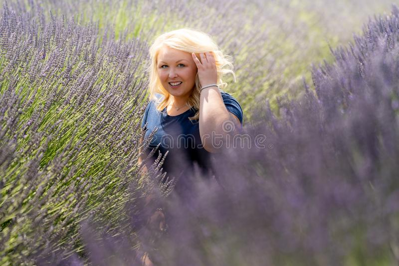 Blonde woman sits in a lavender field, looking off to the side stock images