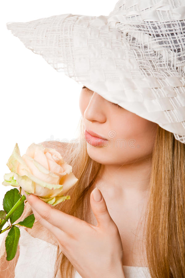 Blonde Woman With Tea Rose Royalty Free Stock Image