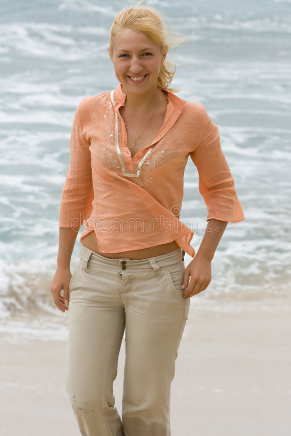 Free Blonde Woman Walking On The Beach. 2 Stock Images - 5113744
