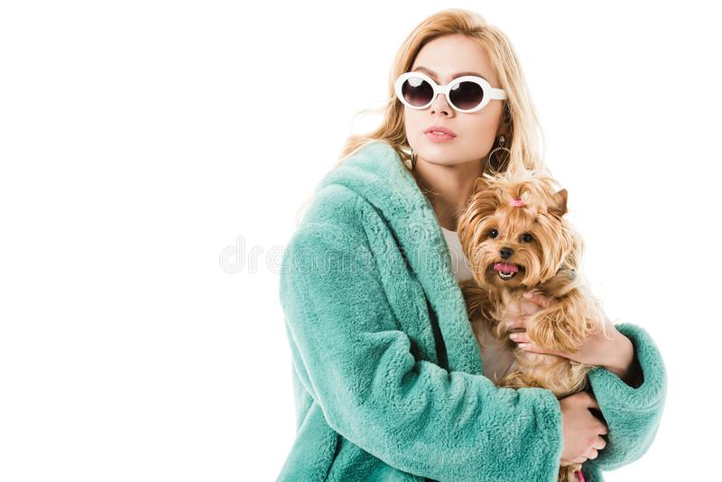 Blonde woman wearing fur coat holding cute dog stock images