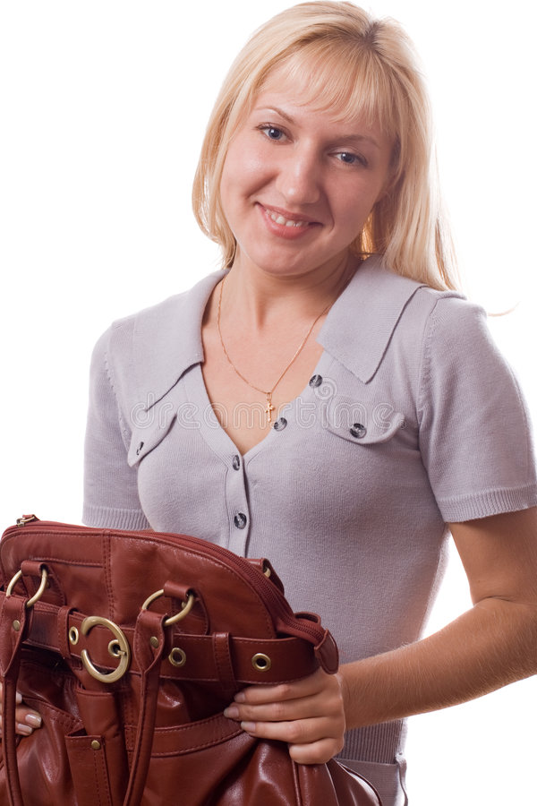 Free Blonde Woman With Handbag Isolated. 2 Stock Photo - 5075960