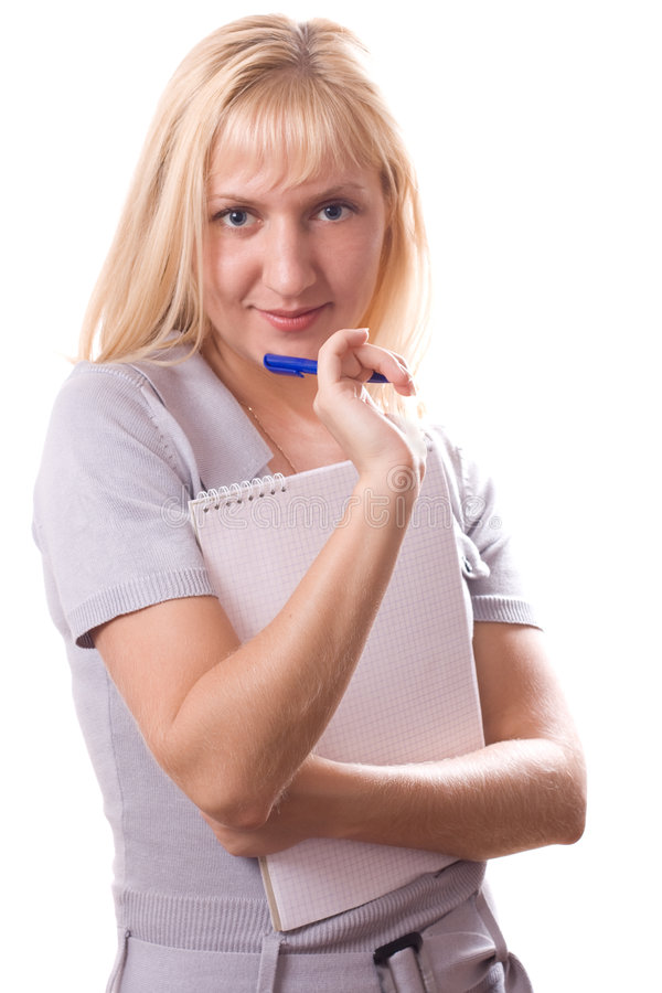 Free Blonde Woman With Note Pad. Isolated. 6 Stock Images - 5113724