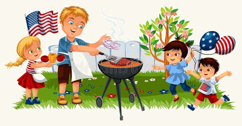 Blonde young man with lovely kids cooking steak on bbq. Cartoon family in festive mood having delicious lunch vector illustration. Happiness and american royalty free illustration