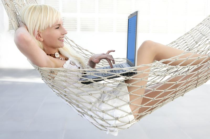 Download Blonde Young Student Fashion Girl Laptop Stock Photo - Image: 13593206