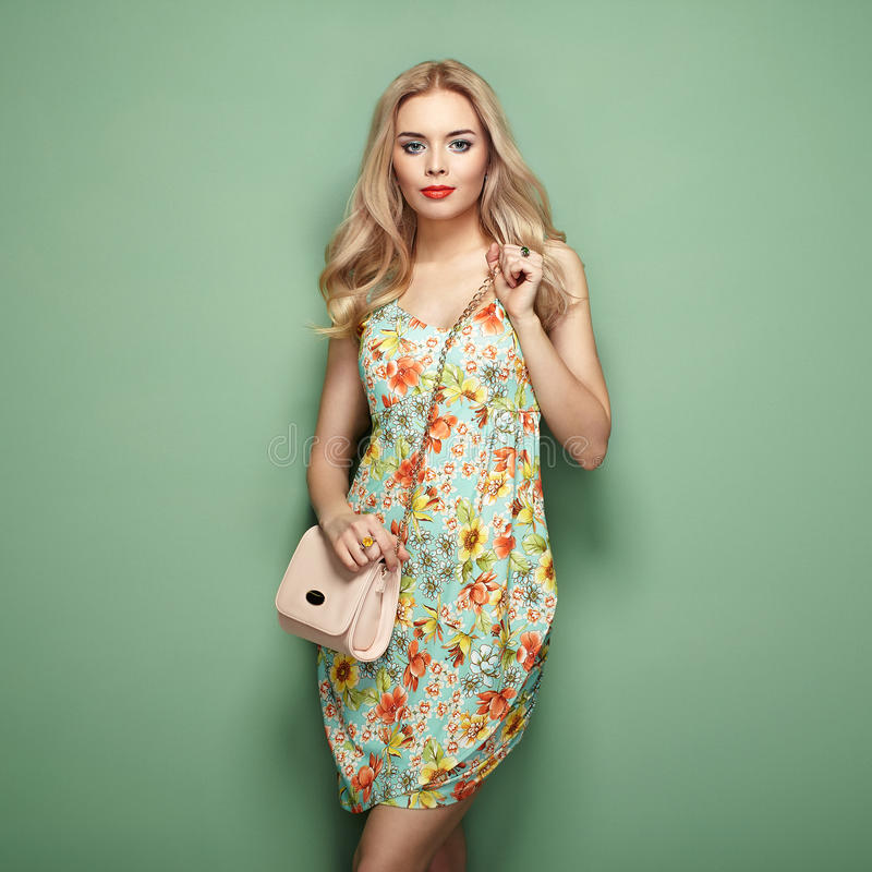 Free Blonde Young Woman In Floral Summer Dress Royalty Free Stock Image - 87337016