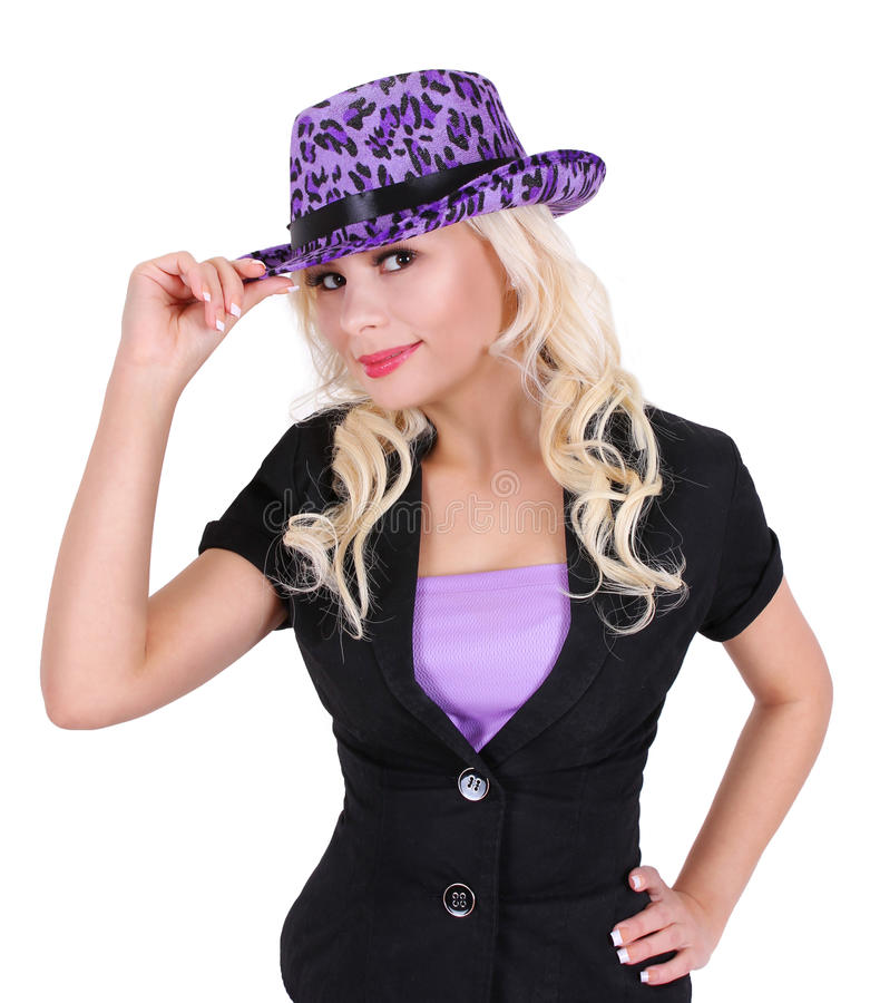 Blonde young woman with purple leopard print hat royalty free stock image
