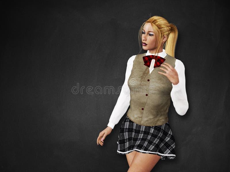 Download Blondemeisje Bij Zwarte Raad Stock Illustratie - Illustratie bestaande uit vrij, mensen: 29513734