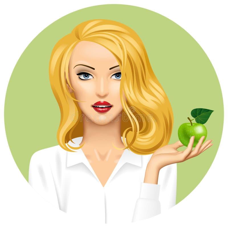 Blondemeisje die ter beschikking een appel op groene ronde achtergrond houden royalty-vrije illustratie