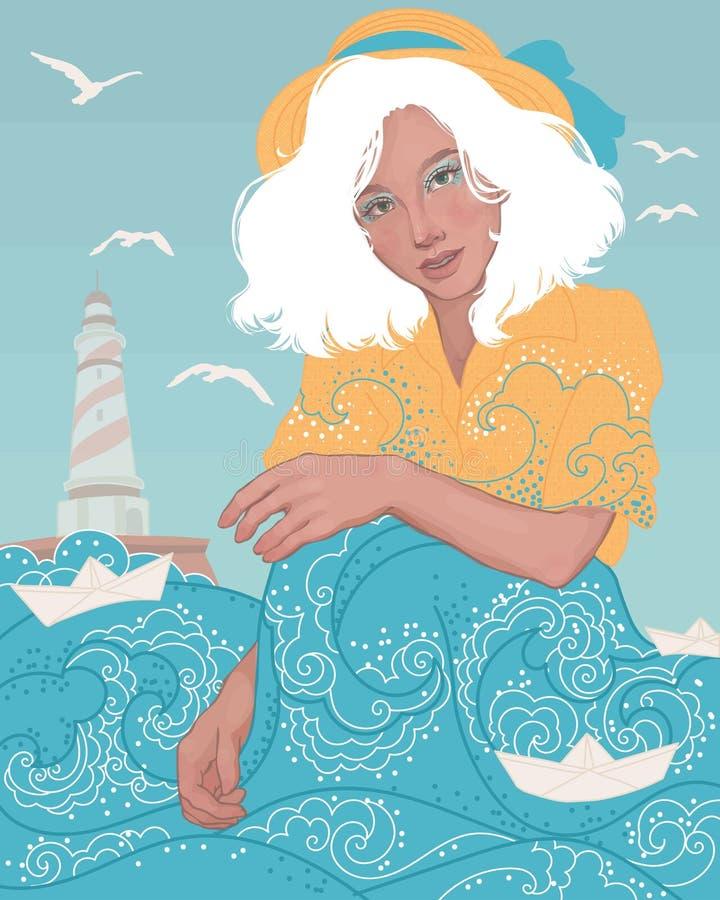 blondemeisje door het overzees royalty-vrije stock foto