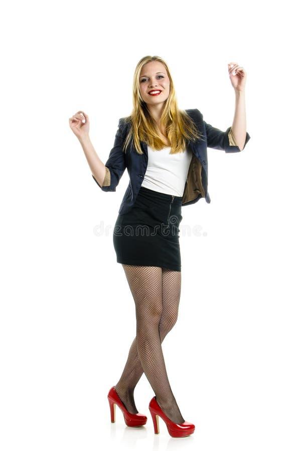 Blondemeisje het dansen stock afbeeldingen