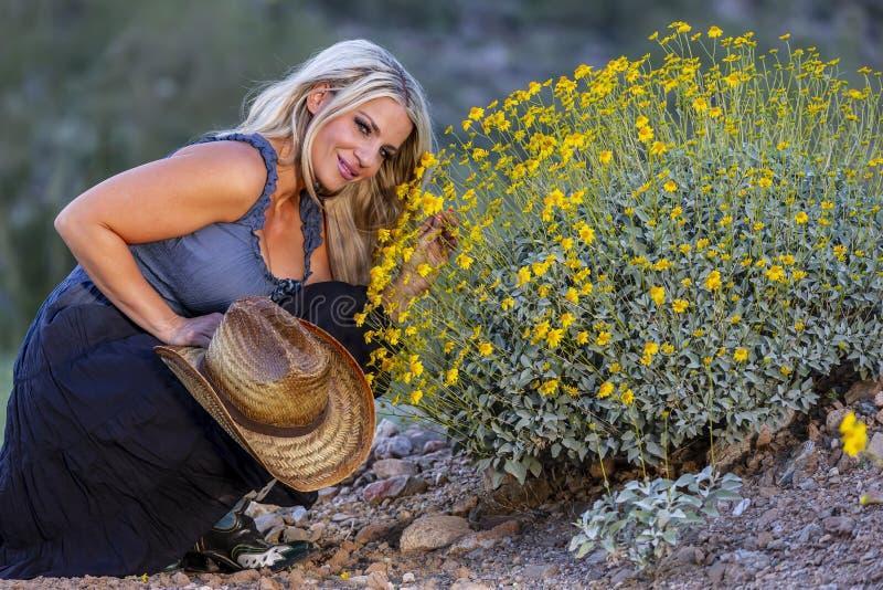 Blondes Cowgirl im amerikanischen S?dwesten stockfoto