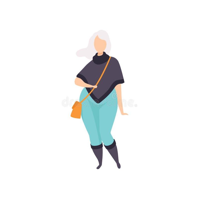 Blondes curvy, überladenes Mädchen in der modernen Kleidung, schön plus Größenmodefrau, Körperpositivvektor vektor abbildung