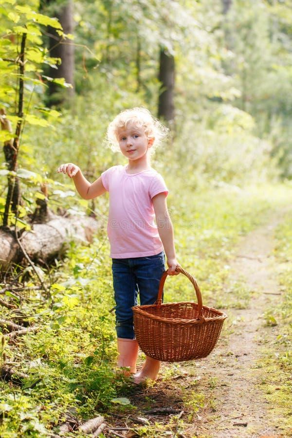 Blondes kleines Vorschulmädchen, das frische essbare Pilze auswählt lizenzfreie stockfotos