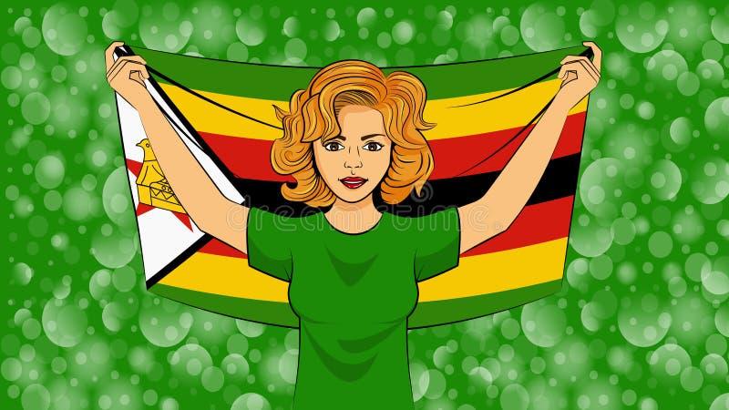 Blondes Mädchen, das eine Staatsflagge von Simbabwe hält stock abbildung