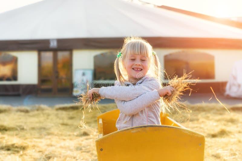 Blondes Mädchen des entzückenden netten Kaukasiers Kinder, dasim hölzernen Wagen hat werfendes Stroh oder Heu des Spaßes am Bauer stockbild