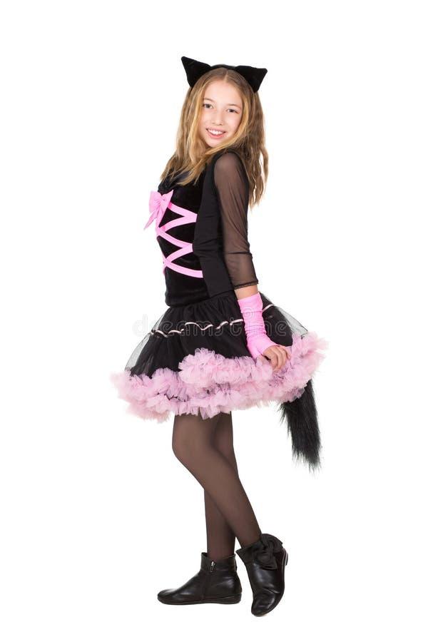 Blondes Mädchen im schwarzen catsuit stockfotografie
