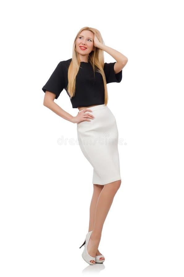 Blondes Mädchen im schwarzen Rock lokalisiert auf dem Weiß stockfotos