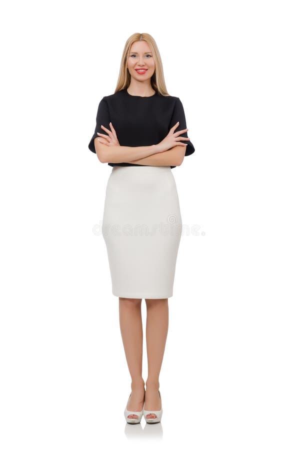 Blondes Mädchen im schwarzen Rock lokalisiert auf dem Weiß stockbild